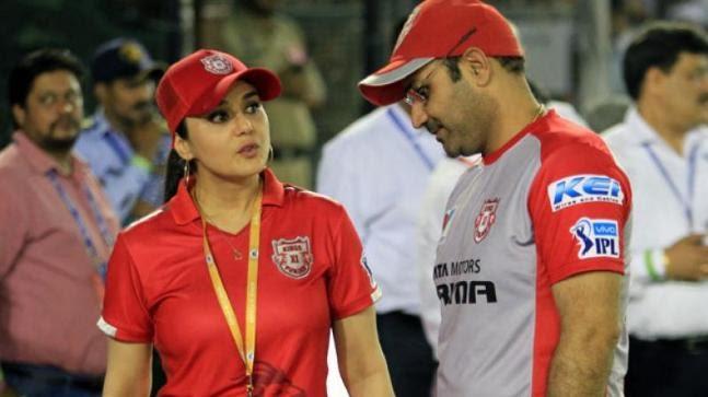 Preity Zinta and Virender Sehwag